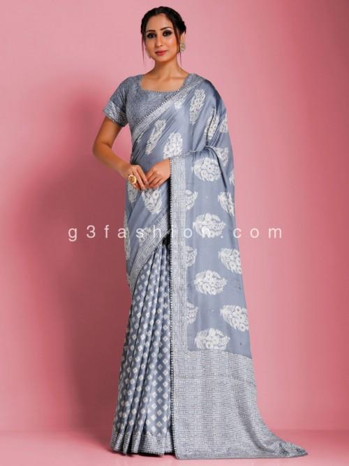 Ajrak Print Grey Color Modal Satin Saree With Readymade Blouse
