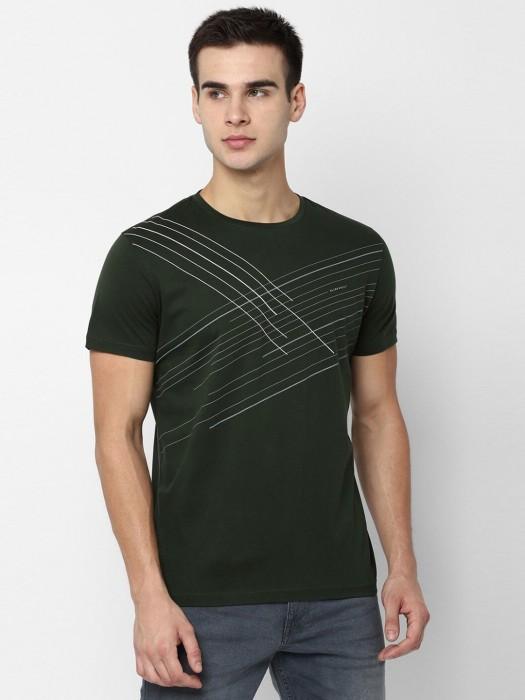 Allen Solly Bottle Green Stripe T-shirt