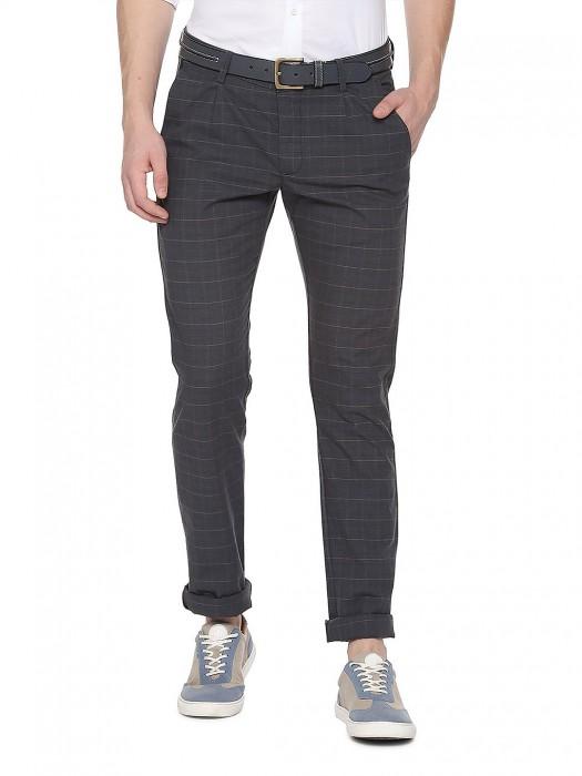Allen Solly Dark Grey Checks Pattern Trouser