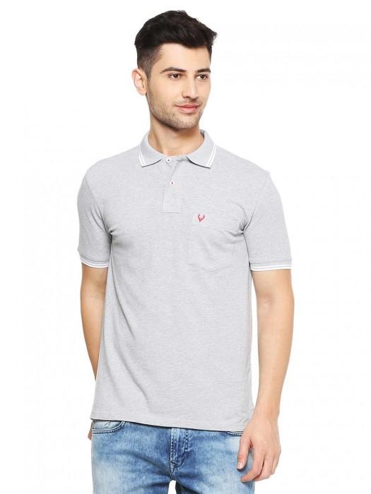 Allen Solly Light Grey Half Sleeves Solid T-shirt