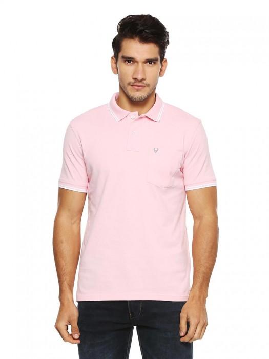 Allen Solly Light Pink Solid T-shirt