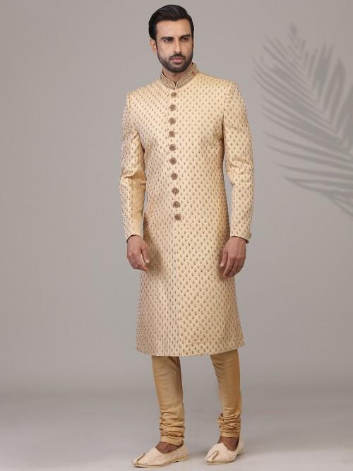 Alluring Beige Silk Sherwani For Wedding