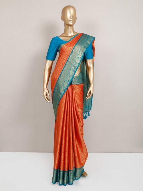 Alluring Orange Semi Silk Saree For Festive