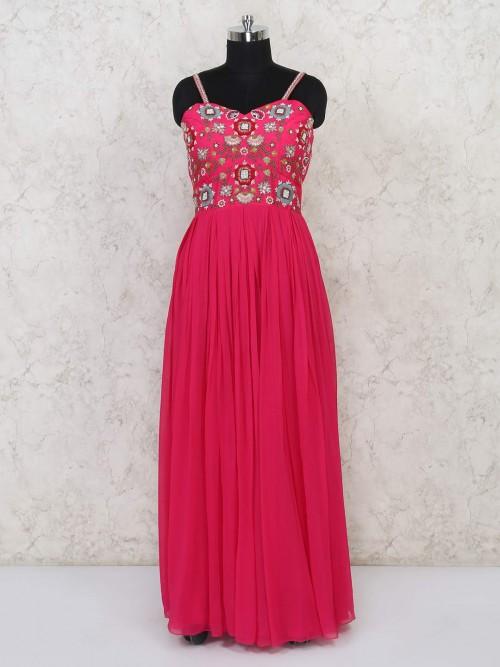 Anarkali Floor Lenghth Pink Suit In Georgette