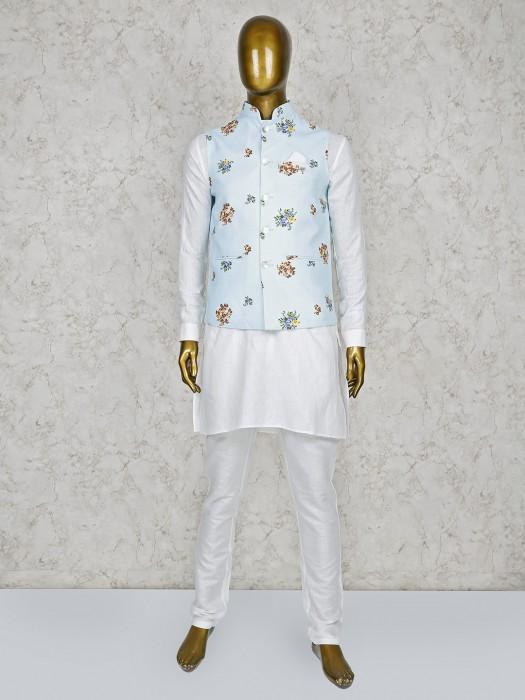 Aqua And White Hue Printed Pattern Waistcoat Set