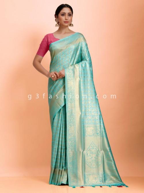 Aqua Art Kanjivaram Silk Sari