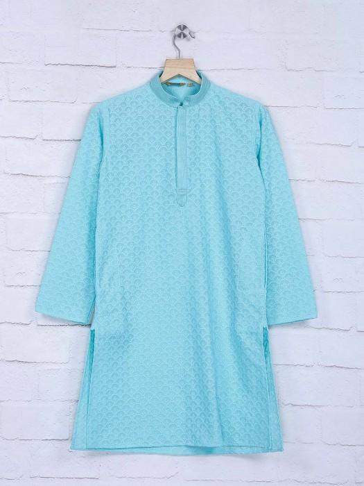 Aqua Color Full Sleeves Cotton Kurta Suit