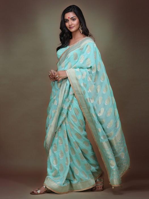 Aqua Color Pure Silk Pretty Saree