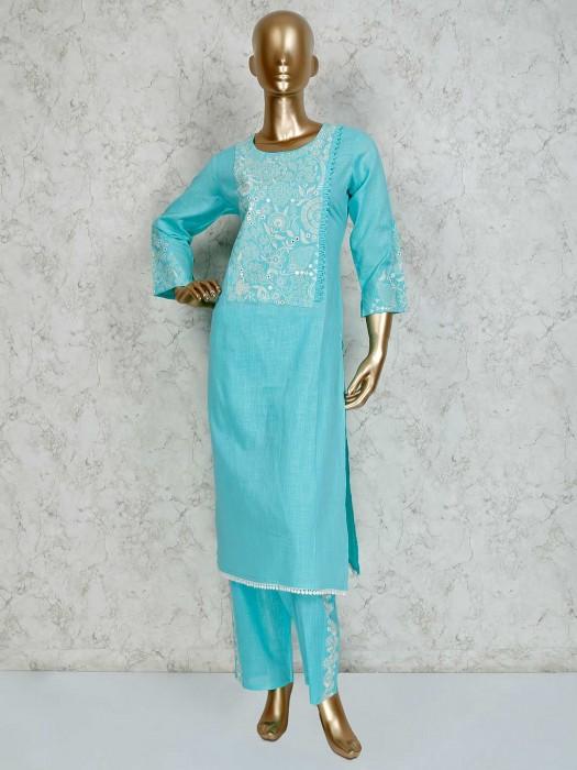 Aqua Cotton Festive Pant Suit