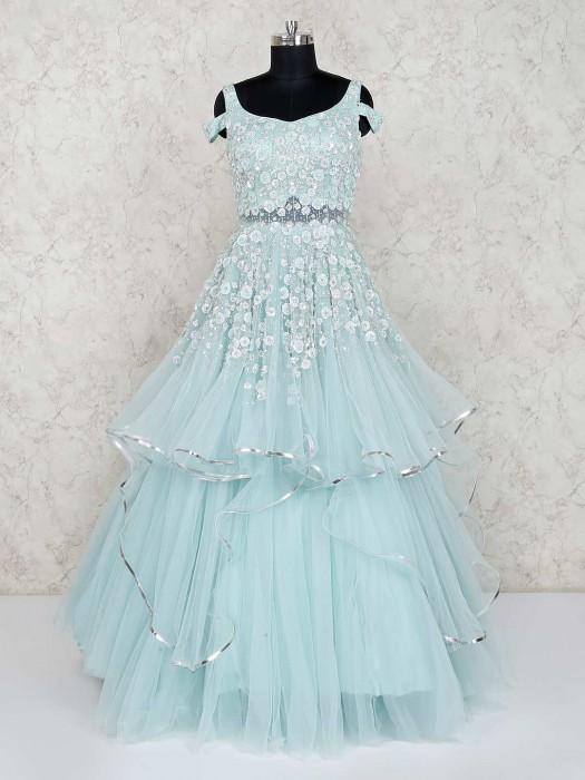 Aqua Designer Net Layer Style Gown