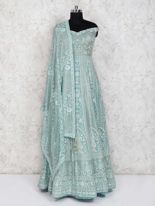 Aqua Georgette Desinger Anarkali Suit