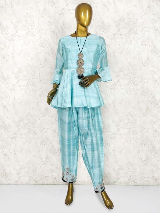 Aqua Green Cotton Silk Designer Salwar Suit