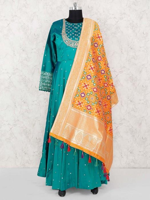 Aqua Green Cotton Silk Floor Length Anarkali Salwar Suit