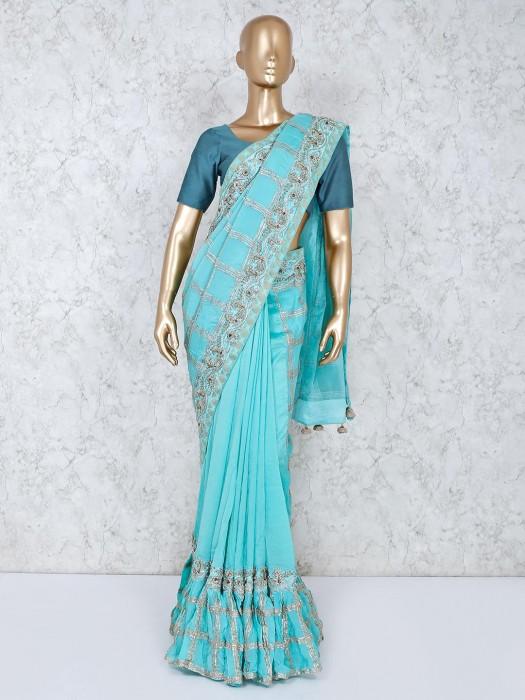 Aqua Satin Silk Wedding Wear Sari