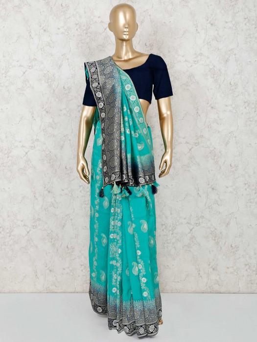 Aqua Semi Silk Receprion Wear Saree