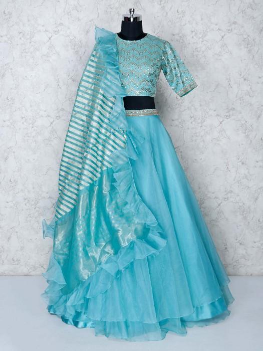 Aqua Tissue Silk Lehenga Choli