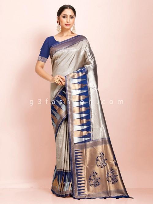 Art Kanjivaram Silk Beige And Blue Traditional Wear Exclusive Saree