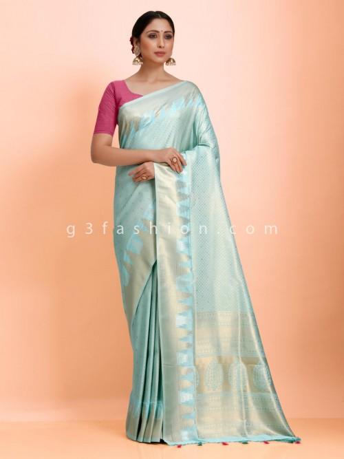 Art Kanjivaram Silk Traditional Look Aqua Saree