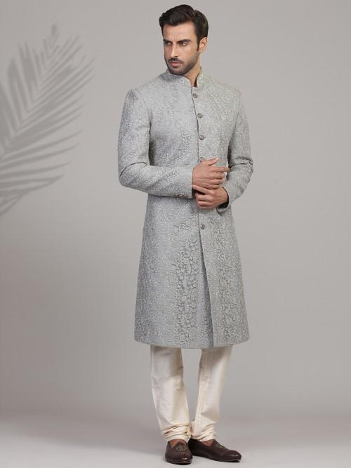 Asthetic Grey Silk Sherwani Set