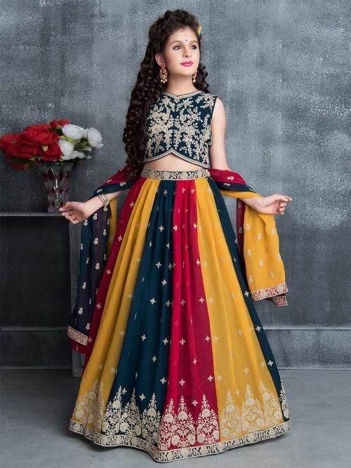 Attractive Navy Blue Lehenga Choli For Wedding
