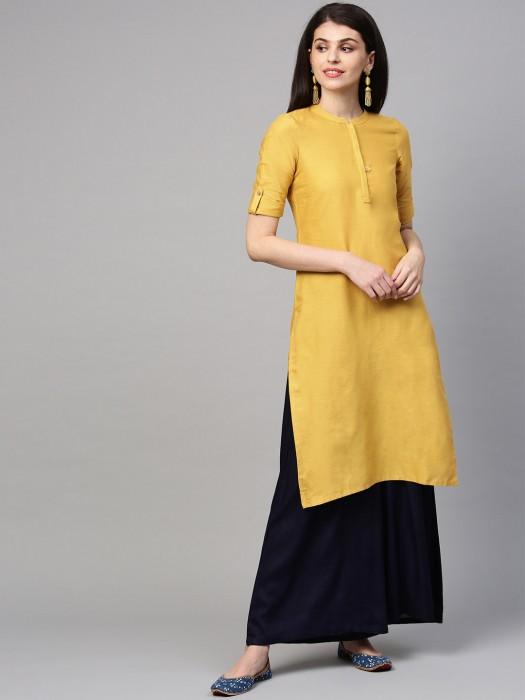 Aurelia Mustard Yellow Kurti In Cotton