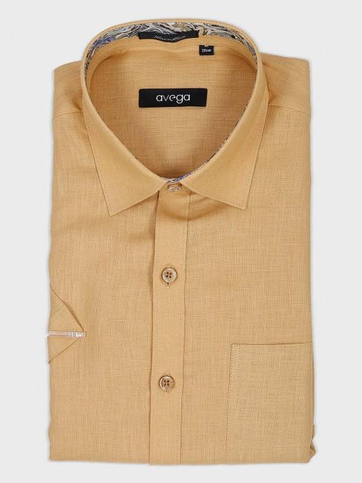 Avega Beige Solid Cotton Fabric Shirt