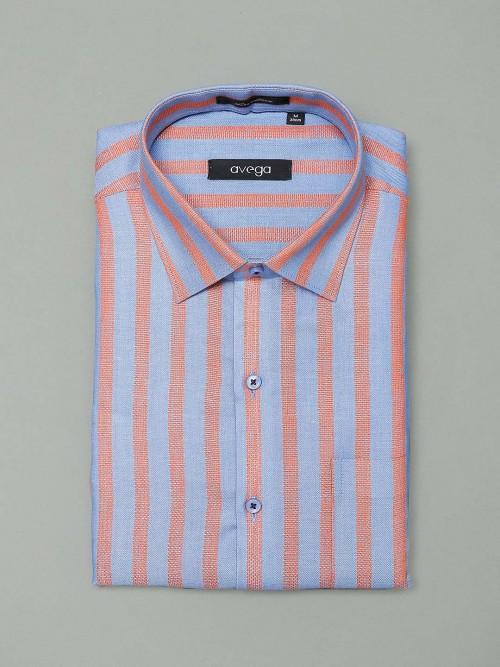 Avega Blue Stripe Cotton Shirt