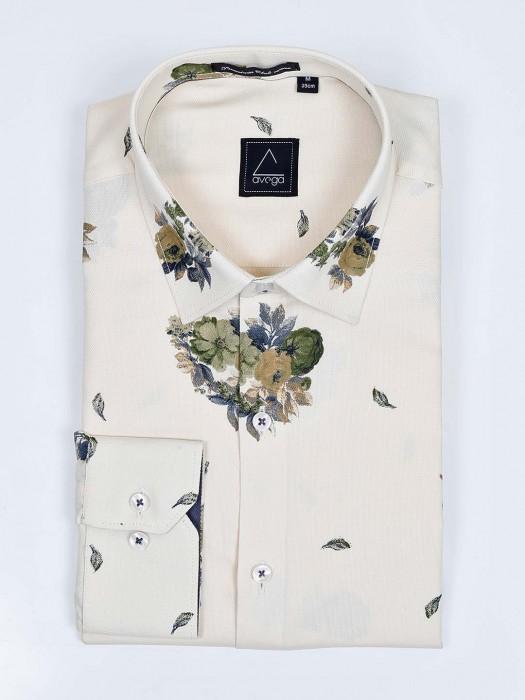 Avega Cream Hue Flower Printed Cotton Shirt