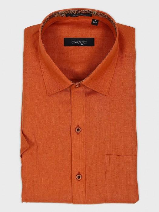 Avega Rust Orange Solid Mens Shirt