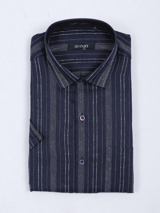 Avega Slim Fit Navy Stripe Pattern Shirt