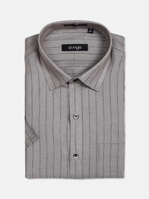 Avega Stripe Grey Cotton Linen Formal Shirt