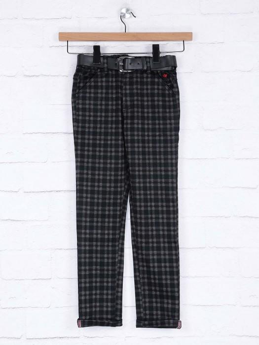 Bad Boys Black Color Checks Pattern Trouser