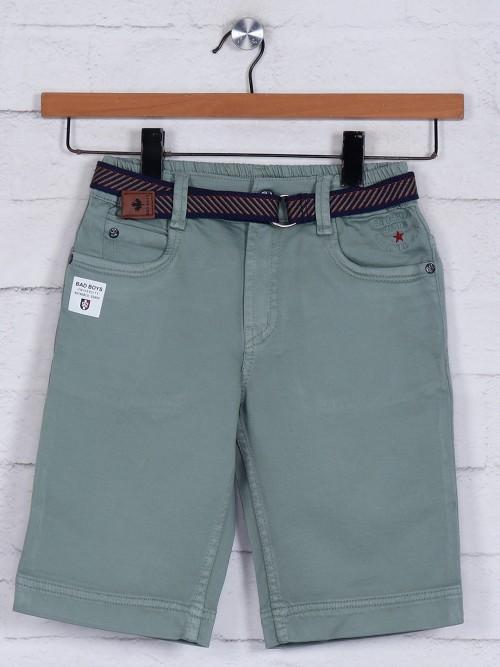 Bad Boys Presented Green Solid Short