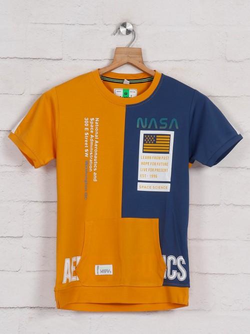 Bambini Mustard Yellow Printed T-shirt