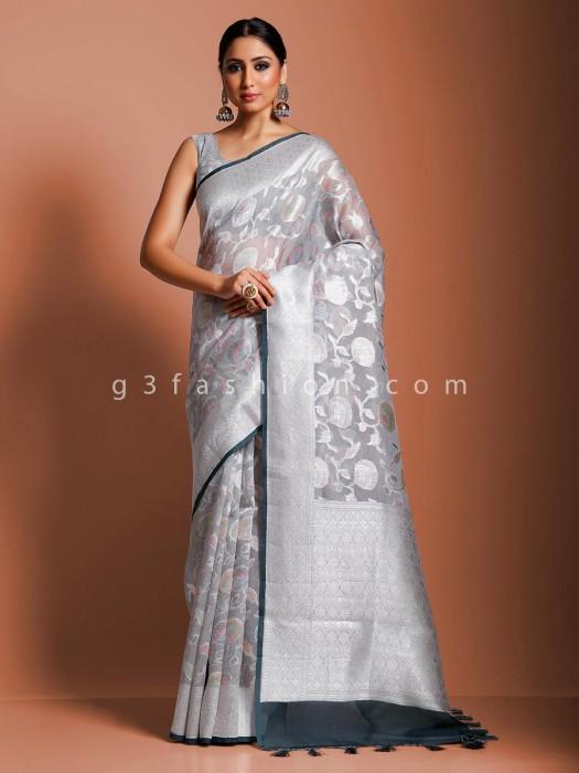 Banarasi Organza Tissue Silk Saree In Grey
