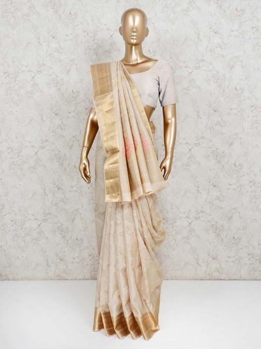 Banarasi Pure Silk Beige Wedding Saree
