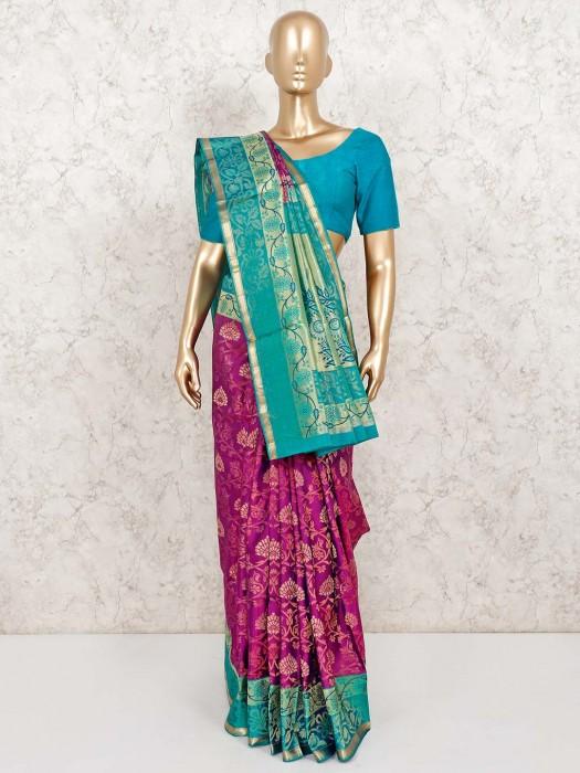 Banarasi Pure Silk Purple Wedding Saree