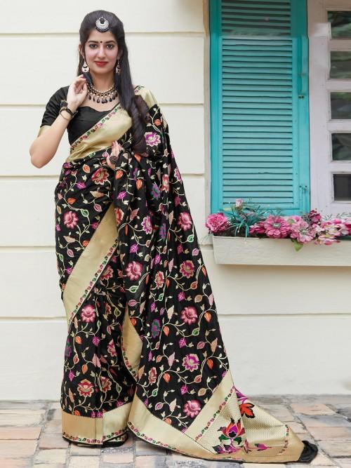 Banarasi Silk Black Festive Wear Saree