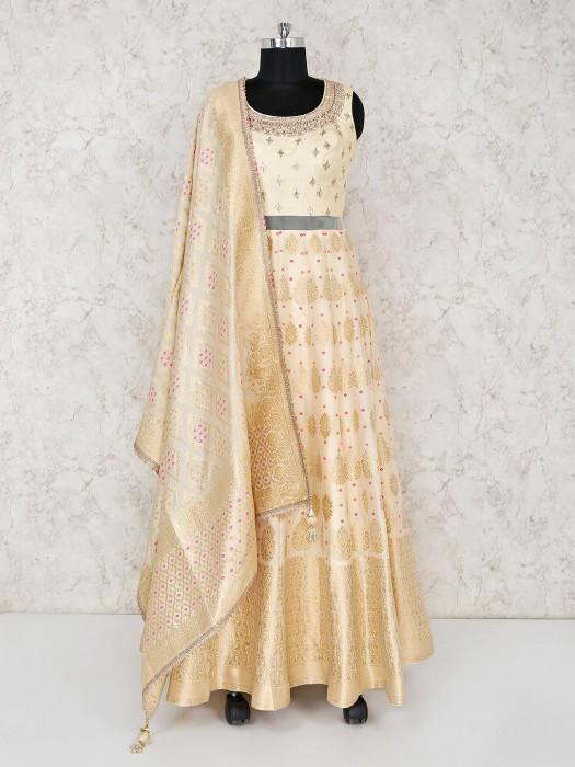 Banarasi Silk Cream Wedding Function Anarkali Suit