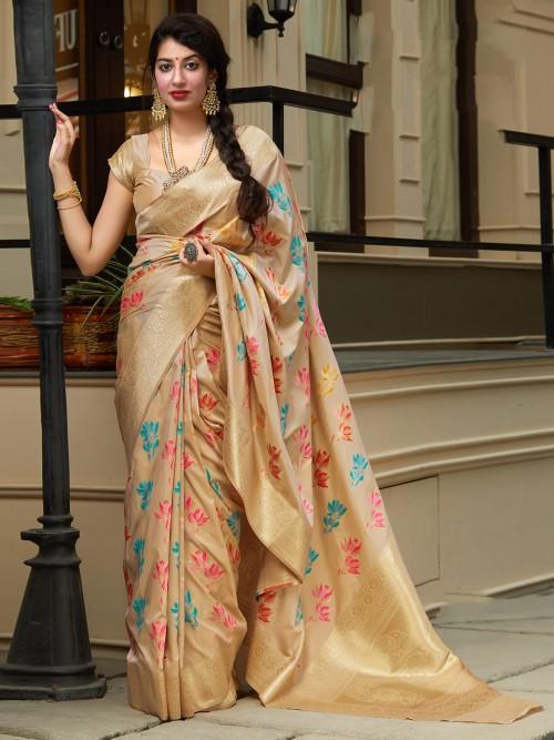 Banarasi Silk Floral Thread Woven Saree In Beige