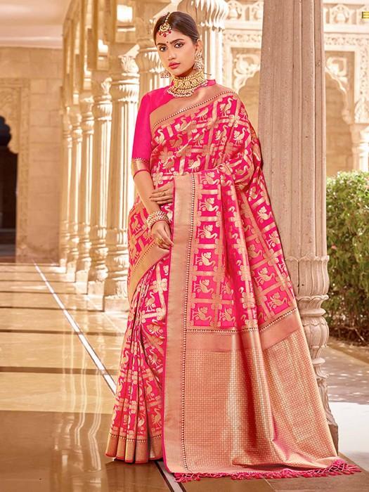 Banarasi Silk Magenta Saree With Zari Woven