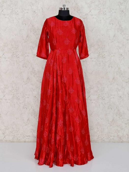 Bandhej Red Printed Salwar Suit In Festive