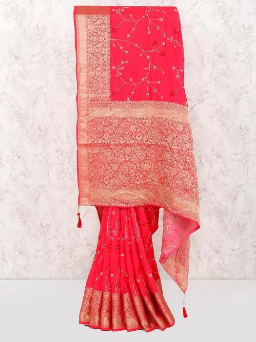 Beautiful Bright Pink Color Cotton Saree