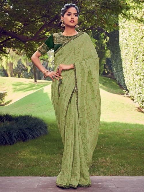 Beautiful Green Cotton Silk Saree For Festival