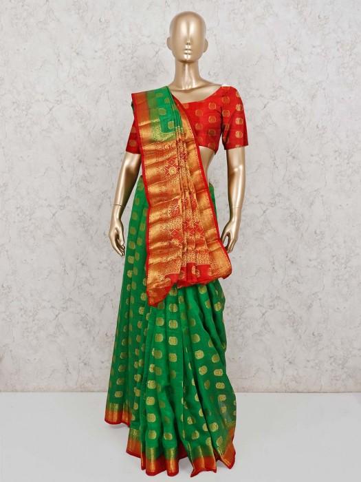 Beautiful Green Semi Cotton Silk Saree