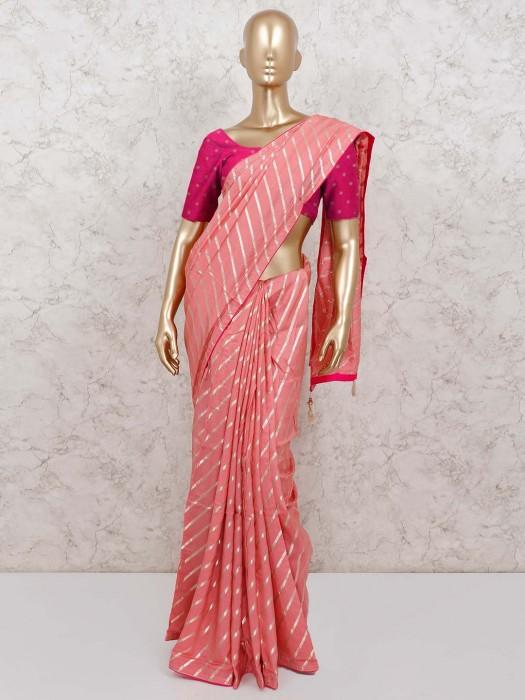 Beautiful Pink Festive Cotton Silk Leheriya Style Saree
