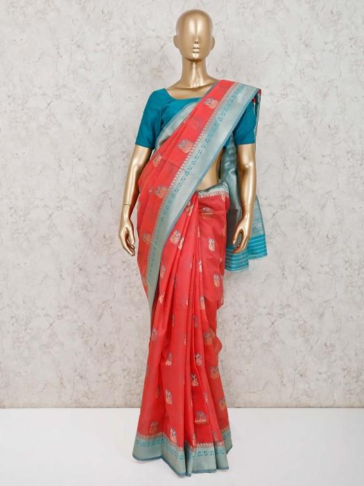 Beautiful Pink Handloom Cotton Silk Saree With Blouse Piece