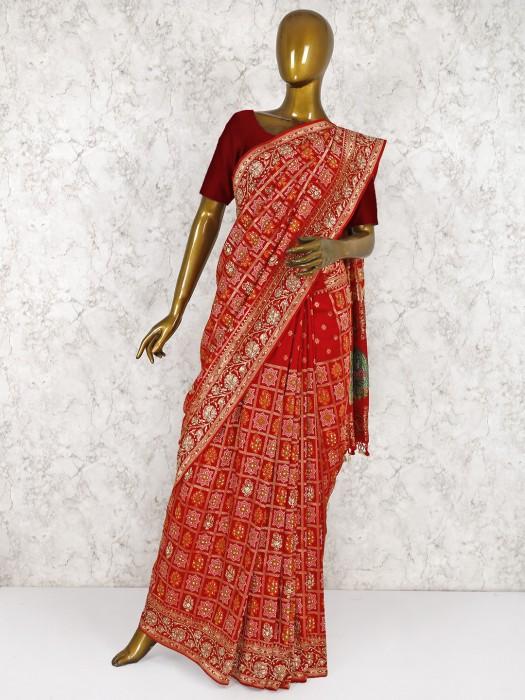 Beautiful Red Banarasi Pure Silk Fabric Wedding Saree