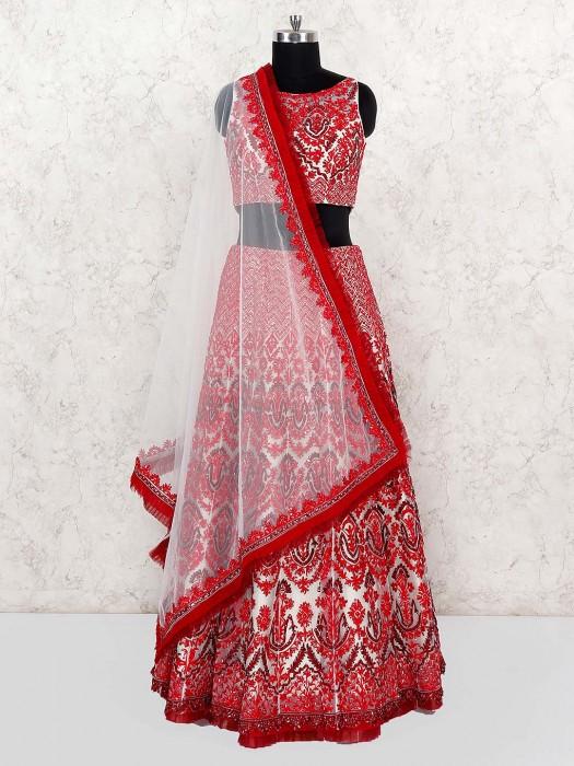 Beautiful Red Color Net Lehenga Choli