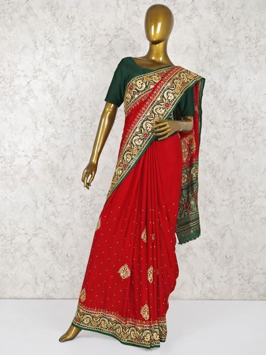 Beautiful Red Colored Wedding Silk Saree